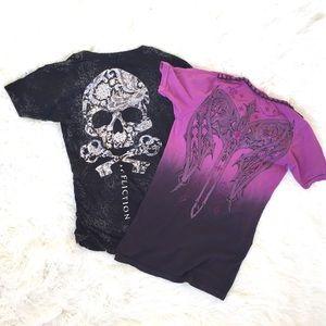 Bundle of 2 Affliction short sleeve t-shirts women